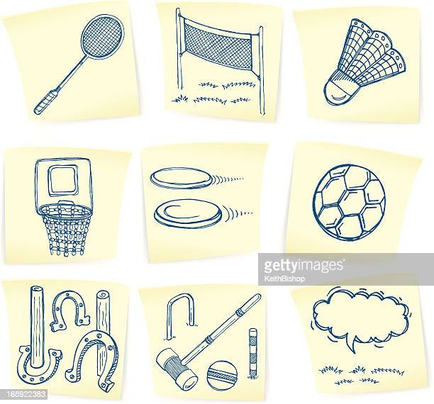 summer sports game doodles on sticky notes - badminton racket stock illustrations, clip art, cartoons, & icons