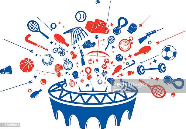 summer sports icons in color - the olympic games stock illustrations