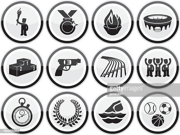ilustraciones, imágenes clip art, dibujos animados e iconos de stock de iconos de deporte de verano - pista de atletismo
