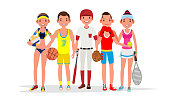 Summer Sports Vector. Set Of Players In Boxing, Basketball, Volleyball, Baseball. Isolated On White Flat Cartoon Illustration