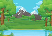 Summer, spring day background. Lake or river with lush green trees and bushes. Green meadows and mountains in the background.