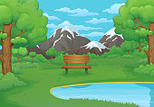 Summer, spring day illustration. Wooden bench by the lake with lush green bushes and trees. Snowy mountains in the background.