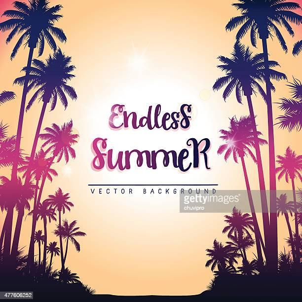 ilustrações de stock, clip art, desenhos animados e ícones de quadrado fundo de verão com árvores de palma - panorâmica