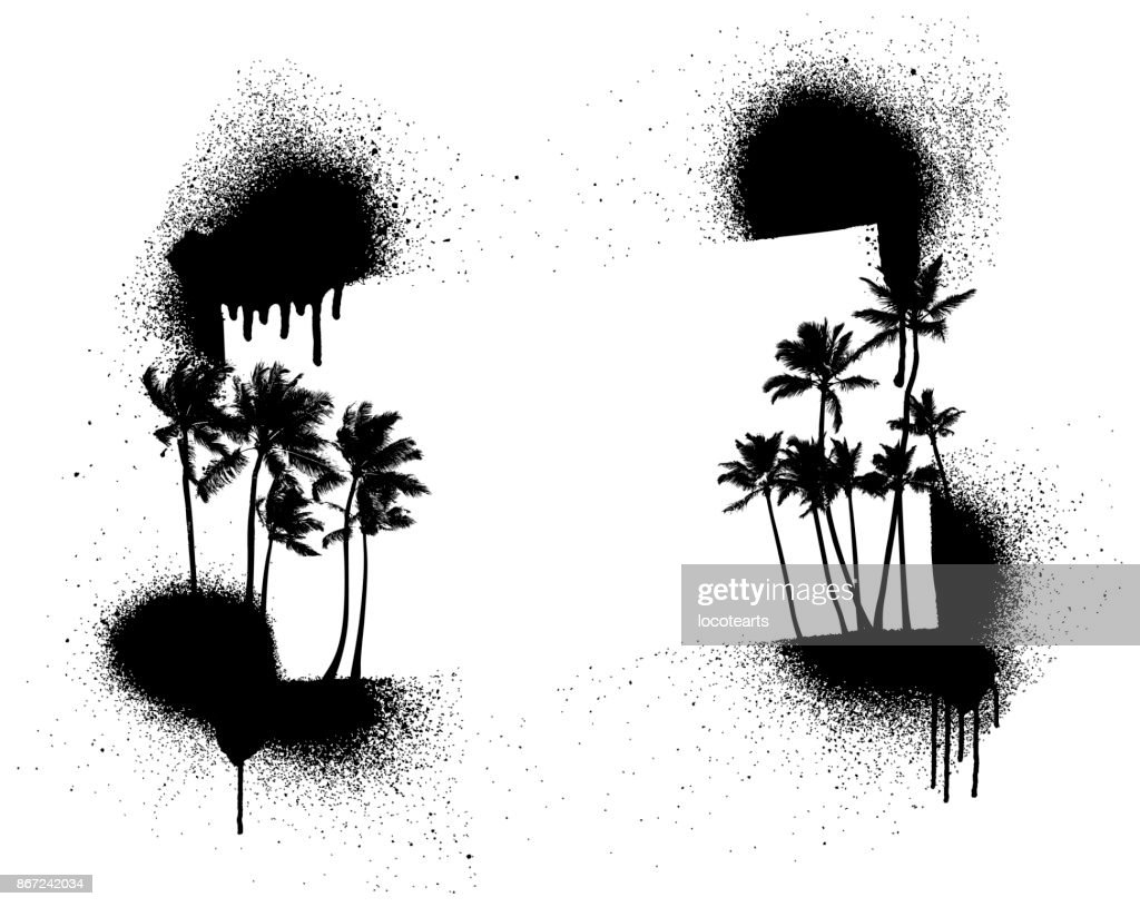 summer stencil frame with palms