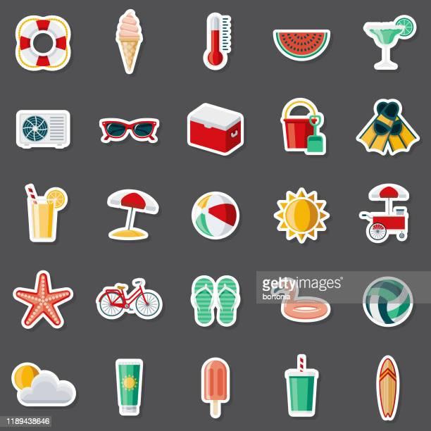 summer sticker set - lemonade stock illustrations