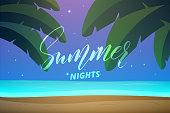 Summer. Summer beach night. Tropical island with palms, ocean and beach.