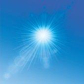 Summer sun background. Blue sky. Vector illustration.