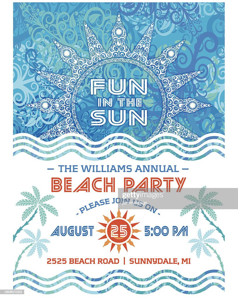 Summer Sun Beach Party Invitation Blue