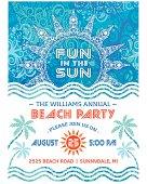 Summer Sun Beach Party Invitation Blue