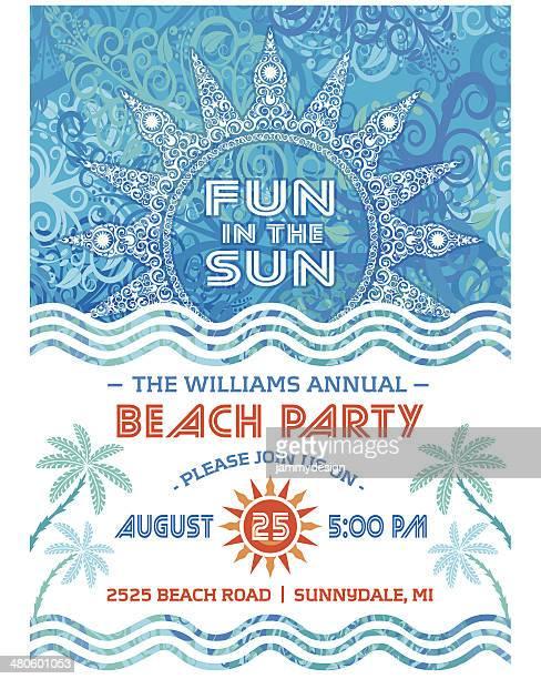 夏のビーチでのパーティの招待状ブルー