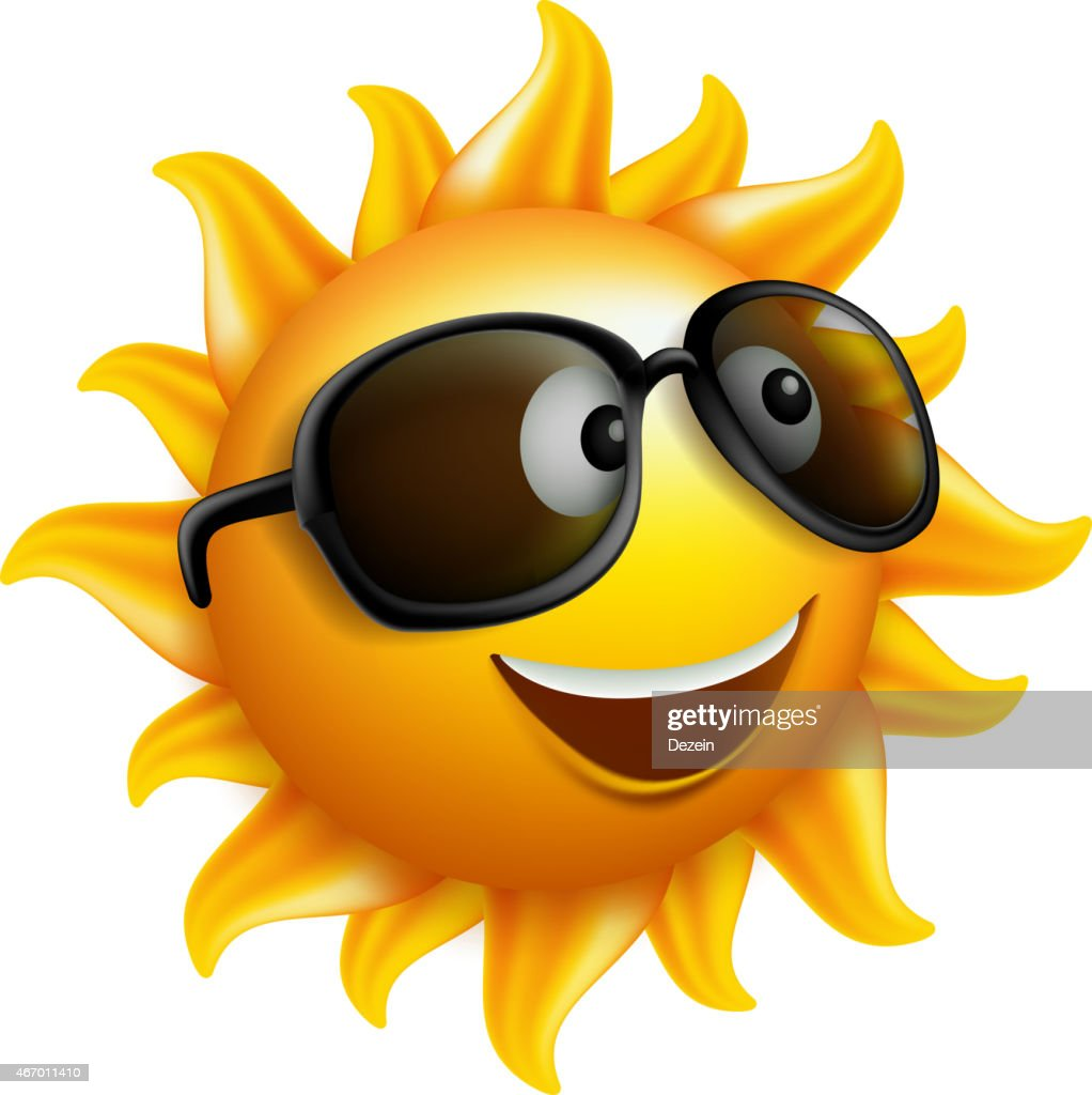 Summer Sun Face with sunglass and Happy Smile