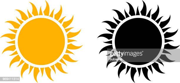 stockillustraties, clipart, cartoons en iconen met zomer pictogrammenset zon vectorafbeelding - zon