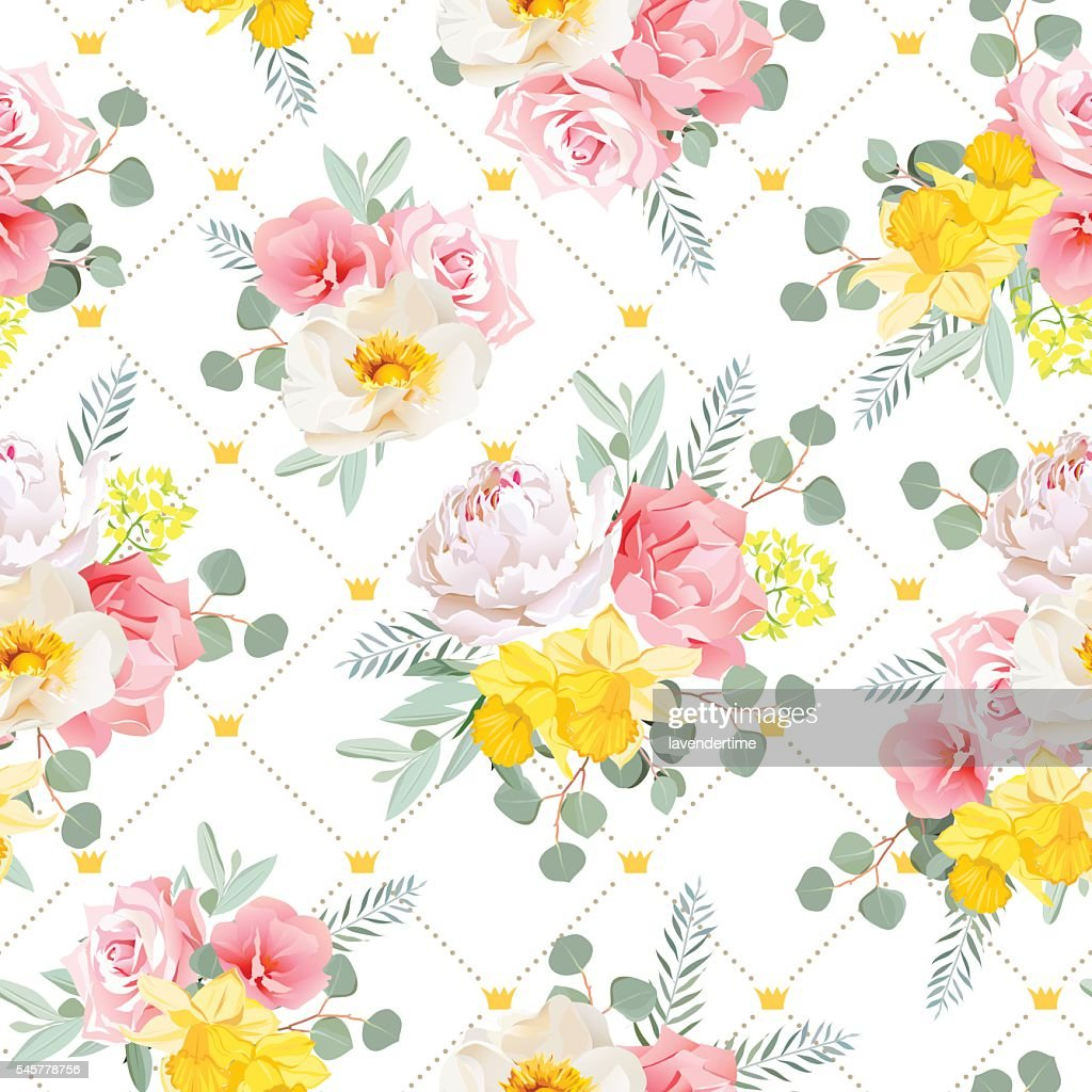 Summer sunny floral seamless vector pattern