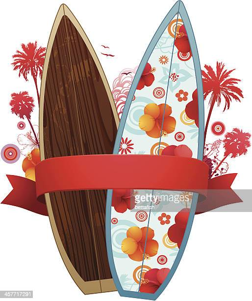 summer surf design - surfboard stock illustrations