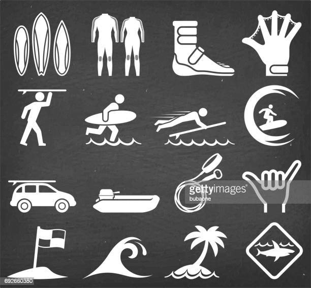 summer surfing on black chalkboard vector icon set - sport set competition round stock illustrations