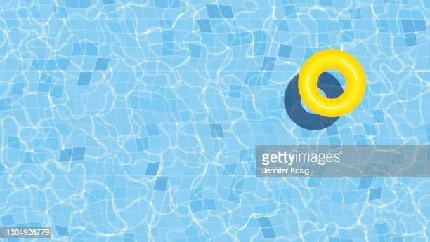 summer swimming pool background illustration with inflatable ring - pool party stock illustrations