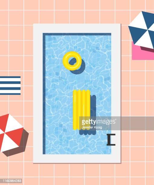 sommer-schwimmbad-illustration - schwimmbecken stock-grafiken, -clipart, -cartoons und -symbole