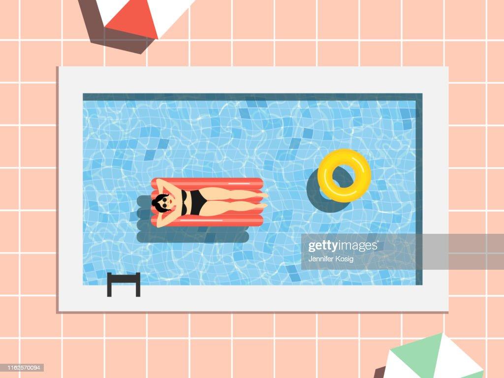Scène de piscine d'été avec la femme : Illustration