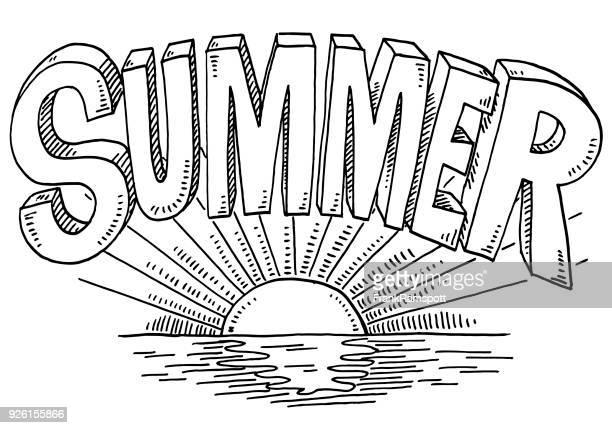 Sommer-Text Sonnenuntergang Zeichnung