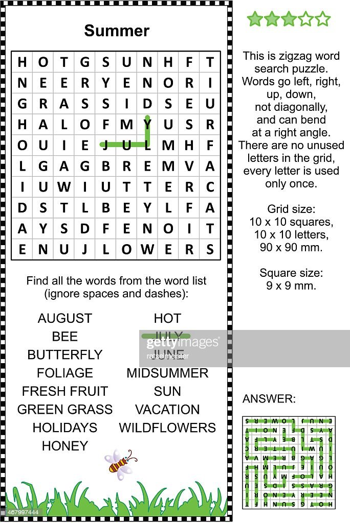 A summer themed word search puzzle
