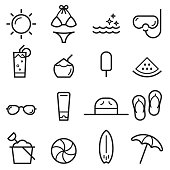 Summer Thin Line Icons