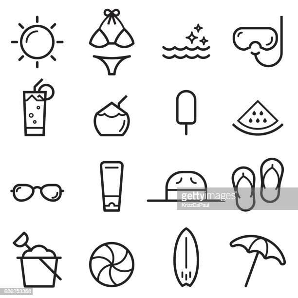 ilustrações, clipart, desenhos animados e ícones de ícones de linha fina de verão - verão