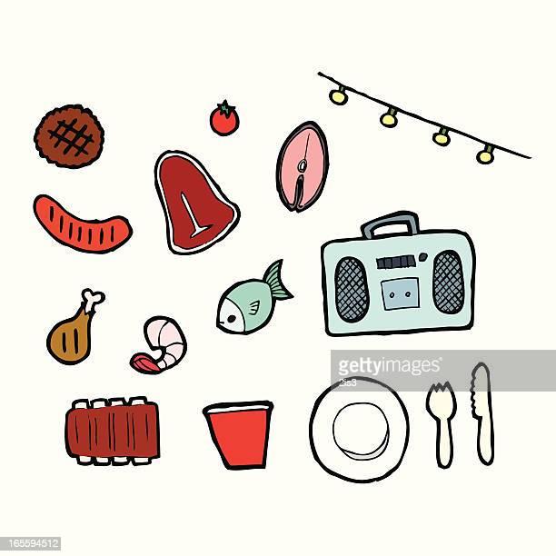 summer time bbq - fillet stock illustrations, clip art, cartoons, & icons