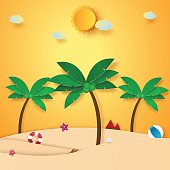 Summer time , beach and coconut tree