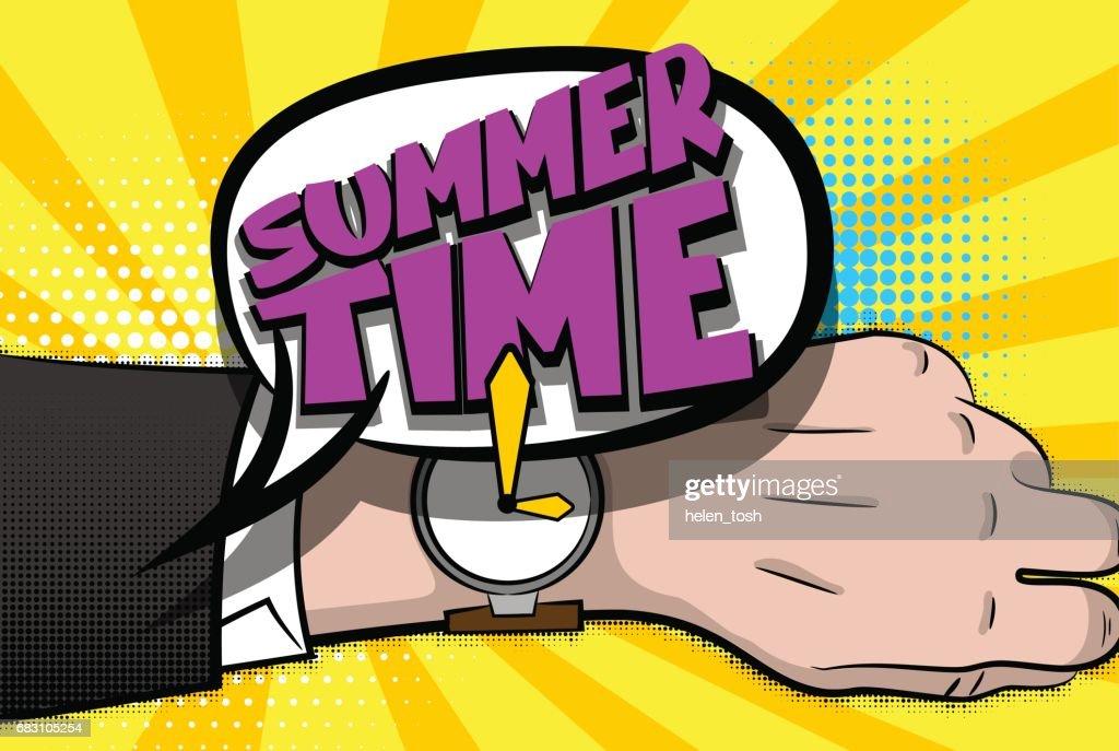 Summer time comic text hand watch pop art