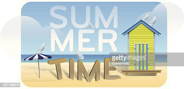 illustrations, cliparts, dessins animés et icônes de été de jour - cabine de plage