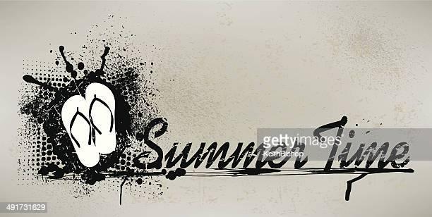 夏のグラフィックにサンダル