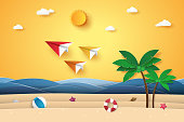 Summer time , Origami planes flying in the sky , beach and coconut tree , paper art style