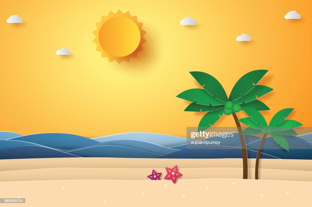 Summer time , sea with beach and coconut tree