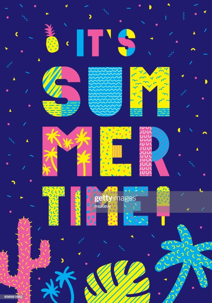 Summer time typography poster : stock vector