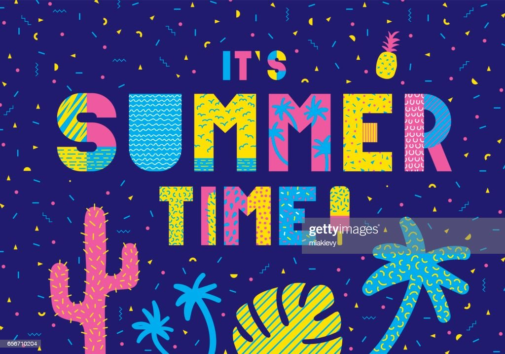 Summer time typography : stock illustration