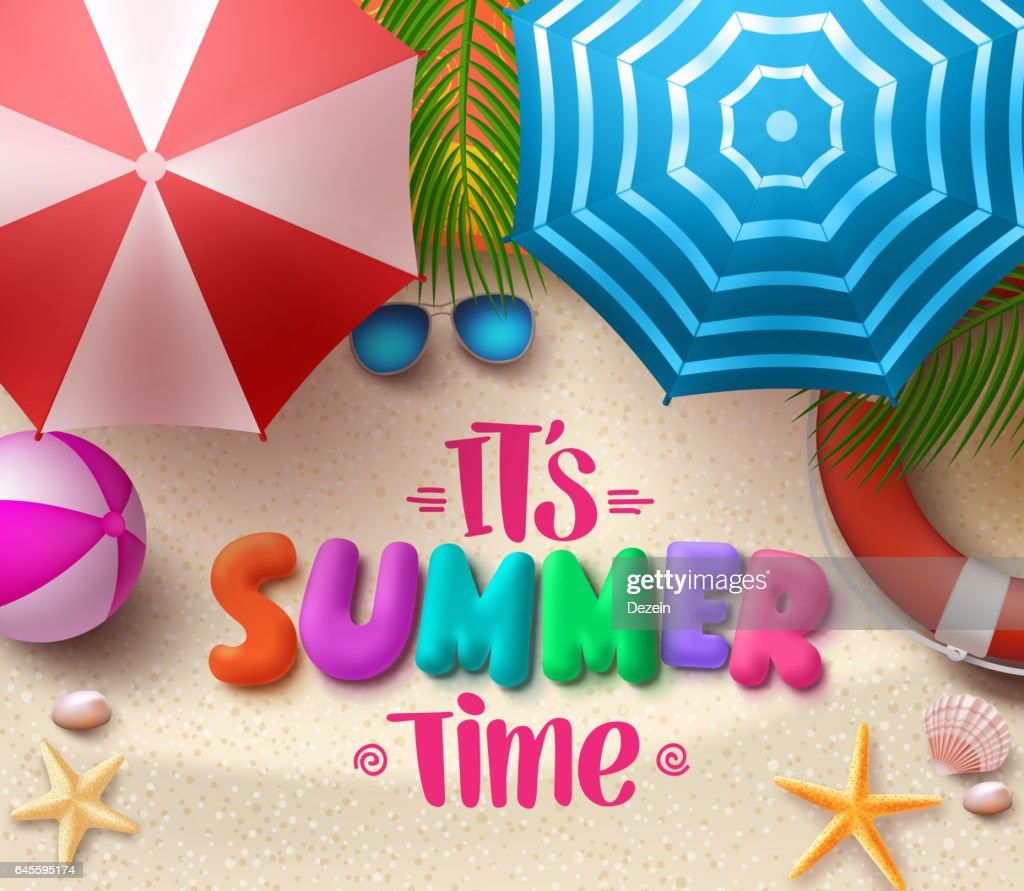 Summer time vector colorful text in sand with beach umbrellas
