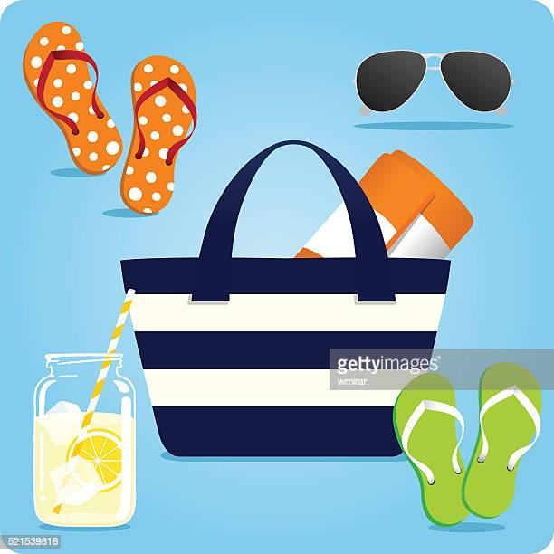 サマートートバッグビーチの必需品 - パイロットサングラス点のイラスト素材/クリップアート素材/マンガ素材/アイコン素材