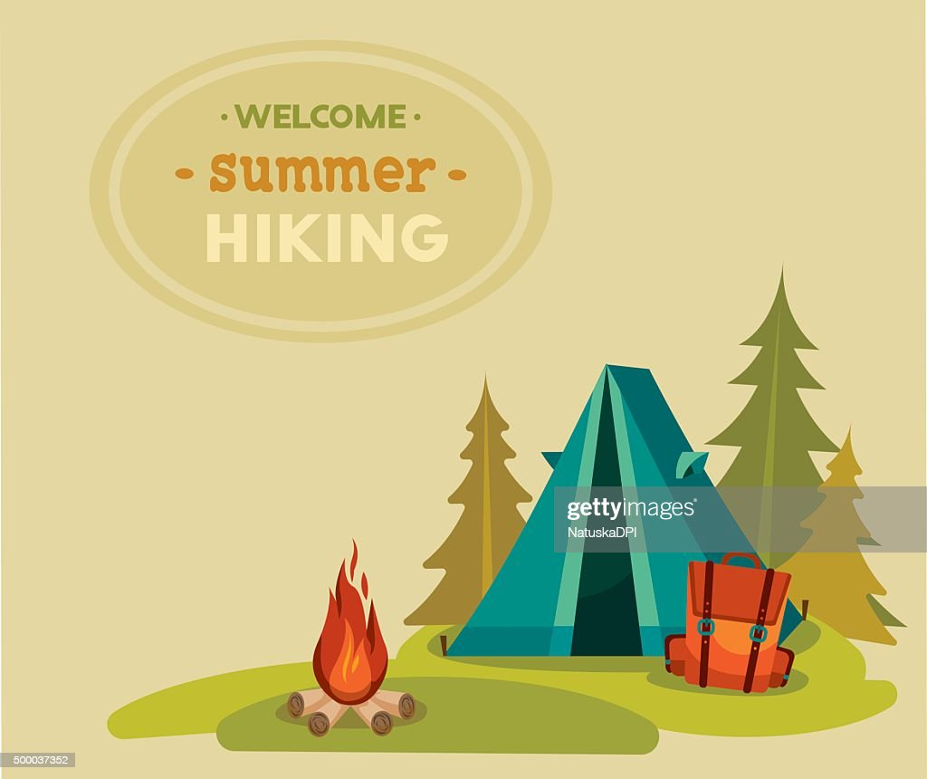 Summer tourist hiking - tent, backpack and campfire.