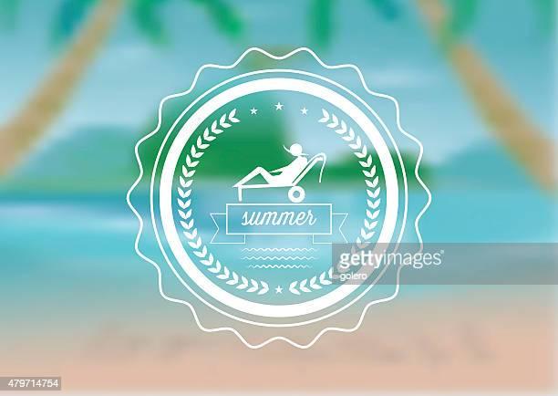 summer tourist icon on blurred palm tree beach background