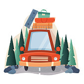 Summer travel car with suitcases, road and forest trees.
