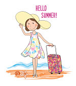 Summer travel card background, lettering HELLO SUMMER, happy girl over sea beach landscape