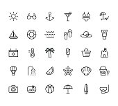 summer, travel, holiday and beach icons set on white background,