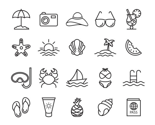 summer, travel, holiday and beach icons set - frozen food stock illustrations