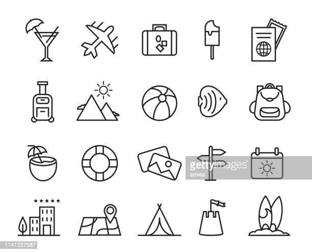 Sommer, Reisen, Urlaub und Strand Ikonen gesetzt