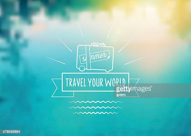 summer travel icon on blurred pool background