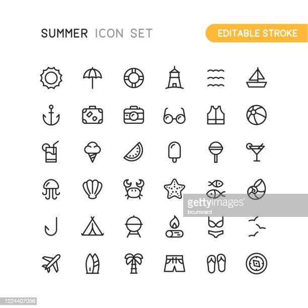 illustrations, cliparts, dessins animés et icônes de été - voyage esquisse icônes accidenté - ancre