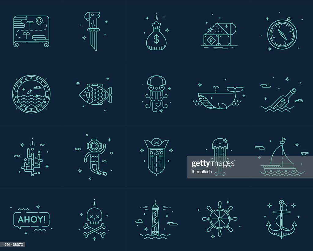 Summer, travel, pirate icons set vector.
