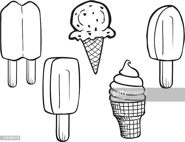 summer treats line art - flavored ice stock illustrations, clip art, cartoons, & icons