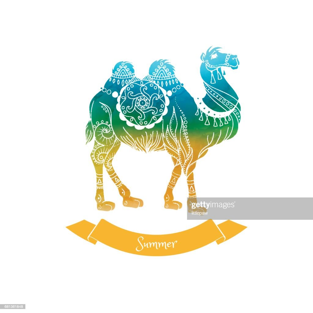 Summer Trip Vector Illustration Card Camel Drawing stock
