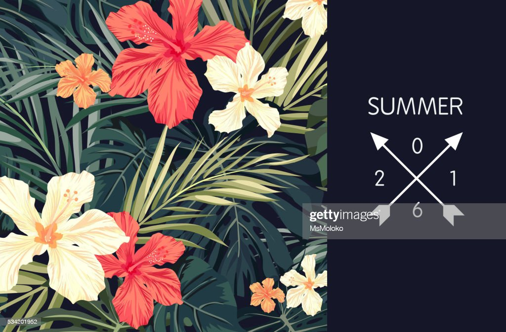 Summer tropical hawaiian background with palm tree leaves and exotic